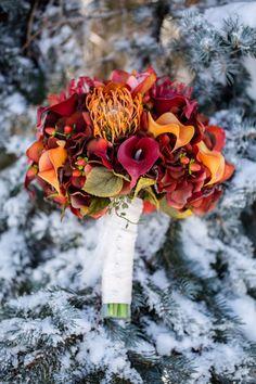 Fall wedding bouquet Red and orange Autumn wedding bouquet