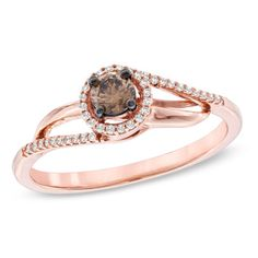 1/4 CT. T.W. Enhanced Champagne and White Diamond Bypass Ring in 10K Rose Gold - View All Rings - Zales