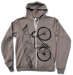 Unisex Urban FOX Hoody american apparel xs s m l xl and xxl (Pewter) Flex Fleece. $55.00, via Etsy.