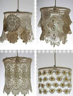 Lace & Doilies: Upcycled and Repurposed Dishfunctional Designs: Vintage Lace & Doilies: Upcycled and Repurposed. Boho lampshades~wowDishfunctional Designs: Vintage Lace & Doilies: Upcycled and Repurposed. Doilies Crafts, Lace Doilies, Crochet Doilies, Crocheted Lace, Lampe Crochet, Diy Crochet, Crochet Towel, Crochet Daisy, Crochet Crafts