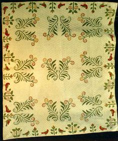 Ferns and redbirds Circa 1850 Old Quilts, Antique Quilts, Vintage Textiles, Vintage Quilts, Quilt Border, Quilt Top, Green Quilt, Yarn Thread, Old Antiques