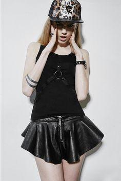 Q-268 Sleeveless Black Punk Shirt