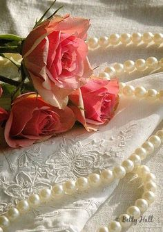 beautiful roses with pearls Jesus E Maria, Deco Rose, Raindrops And Roses, Foto Poster, String Of Pearls, Pearl And Lace, Rose Cottage, Beautiful Roses, Romantic Roses