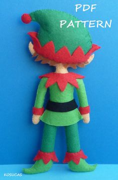 PDF sewing pattern to make a felt Christmas Elf. by Kosucas