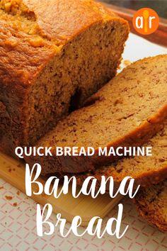 Banana Bread - Quick Bread for Machines Bread Maker Banana Bread, Quick Banana Bread, Vegan Banana Bread, Quick Bread, Bread Machine Recipes Healthy, Bread Maker Recipes, Easy Bread Recipes, Banana Bread Recipes, Cooking Bread