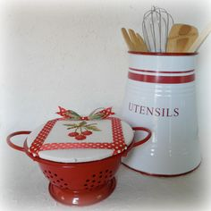 Enamel mini colander with cherry cross stitched lid