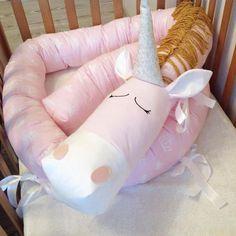 Baby Kinderbett Stoßstange rosa Einhorn handgefertigte Kissen