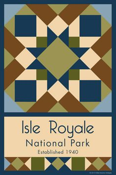 Isle Royale National Park Quilt Block designed by Susan Davis. Susan is the owner of Olde America Antiques and American Quilt Blocks She has created unique quilt block designs to celebrate the National Park Service Centennial in 2016. These are the first quilt blocks designed specifically for America's national parks and are new to the quilting hobby. OldeAmericaAntiques.com and AmericanQuiltBlocks.com