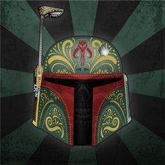 Mexican Traditional Skull Styled Star Wars Prints - Boba Fett