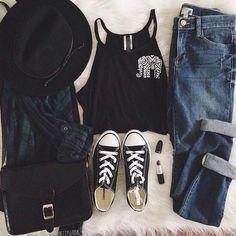 hat jeans blouse shirt bag shoes tank top black hat green blue black hulter top black tank top elephant blue jeans black convers flannel shirt cross-body bag black purse burgundy lipstick