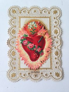ANTIQUE CATHOLIC RELIGION PRAYER HOLY CARD PAPER LACE GOLD FLIP ST. JULIA HEART