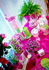 Pink & Green Candy Buffet would like this in purple and line green.