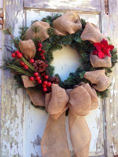 Winter Burlap Wreath Red Berries by WreathUnique on Etsy Holiday Wreaths, Holiday Crafts, Christmas Decorations, Holiday Decor, Burlap Christmas, Noel Christmas, Christmas Ornaments, Diy Wreath, Burlap Wreath