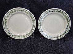 "Buffalo China Kenmore Green Band Vintage Bread Plates 6 1/4"" Restaurant Ware TWO #Buffalo"
