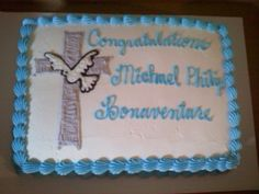 Confirmation cake Confirmation Cakes, Occasion Cakes, Kid Styles, First Communion, Cake Creations, Cake Decorating, Special Occasion, Party, Desserts