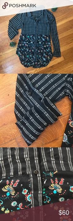 Anthropologie Silk Blouse Beautiful Tolani silk blouse from Anthropologie with black & white pinstripes and multicolored floral patterning.  Like new condition, size Medium.  Breast pocket stitching (no pockets, just outline), buttons to wear sleeves rolled up.  Perfect for fall! 🍂🍂 Anthropologie Tops Blouses