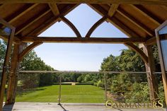 View from a beautiful oak framed extension with a bespoke oak truss by Oakmasters Exposed Trusses, Roof Trusses, Oak Framed Extensions, Oak Frame House, Ceiling Beams, Beamed Ceilings, Building A Pool, Roof Structure, Roof Styles