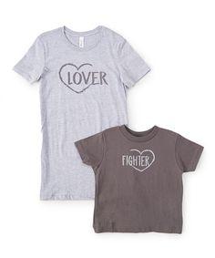 Gray 'Lover' & 'Fighter' Tee Set - Toddler Kids & Women