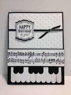 handmade card ... So Fun!!  Labeled Love Piano Keys Card ... black and white ... great design ... Stampin' Up!
