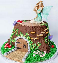 Fairy garden tree stump house cake