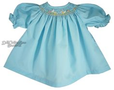 """EASTER BUNNY Aqua Hand-Smocked Dress for 18"""" American Girl Doll Clothes #DollClothesSewBeautiful"""