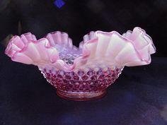Fenton Cranberry Hobnail Opalescent Bowl.