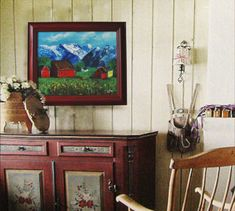 Norwegian Landscape Original Oil Painting With Frame Original Art Norwegian Farm at the Mountains Handcrafted in Norway Free Shipping Scandinavian Folk Art, Nordic Art, Art Christmas Gifts, Cat Lover Gifts, Painting Frames, Norway, Original Art, Oil, Free Shipping