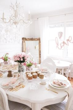 Romantic Valenine's Day table setting, white and blush, gold accents, gold mirror