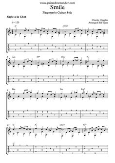 """""""Smile"""" - by Charlie Chaplin for fingerstyle guitar solo"""
