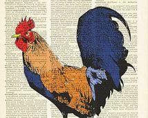Coq Art Print RED ROOSTER magnifiquement upcycled vintage dictionnaire page livre art print