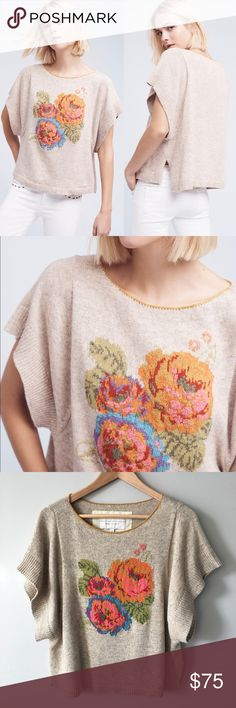 Anthropologie Bartella Blooms Top 🌸 By Angel of the North Cotton, nylon, wool Kimono sleeves Embroidered detail Pullover styling Hand wash Style No. 4114529106980 Lightly worn and washed a few times – no stains, holes, or pilling – in great, pre-owned condition. Bundle & save 💰! Sorry - 🚫 trades! Anthropologie Tops