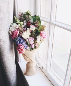 flowersfordreams on Instagram: Rainy day bouquets. | Capping off a very busy and wet Saturday of bike wedding and event flower deliveries all across Chicago. |  in the windowsill by @amymokris #flowersfordreams