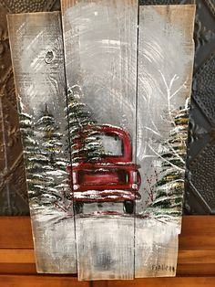 Red Christmas truck painting on lod fence! Excited to share the latest addition to my shop: Red Christmas truck painting on lod fence! Christmas Wood Crafts, Christmas Signs Wood, Rustic Christmas, Christmas Art, Christmas Projects, Holiday Crafts, Christmas Canvas, Etsy Christmas, Pallet Painting