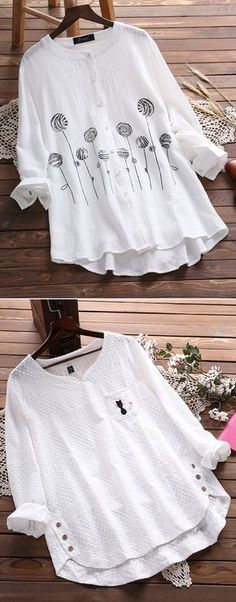 Vintage Casual White & Floral Blouses On Newchic Make You A Perfect Look Everyday Trendy Fashion, Womens Fashion, Trendy Style, Ladies Fashion, Winter Typ, Blouse Models, Short Tops, Blouse Vintage, Western Outfits