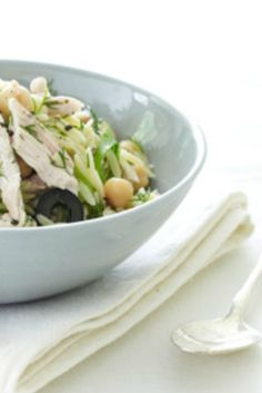 This easy orzo with chicken pasta salad recipe makes great use of leftover chicken or a store bought rotisserie bird for dinner.