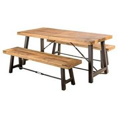 Catriona 3pc Acacia Wood Picnic Table - Teak Finish - Christopher Knight Home : Target