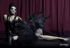 Olivia from Britains Next Top Model. Photography by Tigz Rice. #tigz_rice #olivia #burlesque #costumes #black #feathers #stage #fans