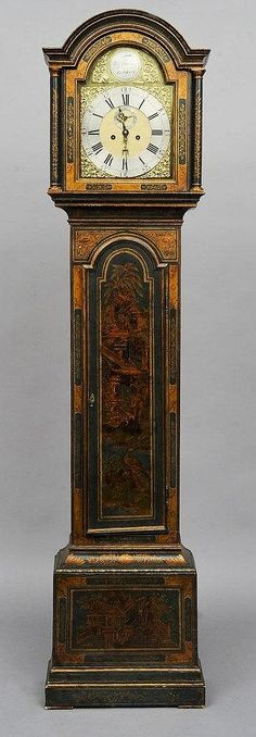 An 18th century green chinoiserie decorated eight day longcase clock The 12 1/8th inch brass arched dial signed Wm. Ericke, London and with silvered chapter ring, subsidiary seconds dial and bell striking four pillar movement. 223 cms high.