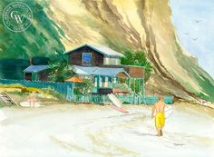 Steve Santmyer - Surfers at Crystal Cove, California art, original California watercolor art for sale, fine art print for sale, giclee watercolor print - CaliforniaWatercolor.com