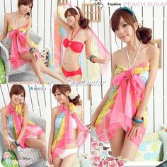 84c694b4a97dd Summer Women Sexy Chiffon Beach Towel Pareo SARONG Cover-ups Off-shoulder  Strapless Dress