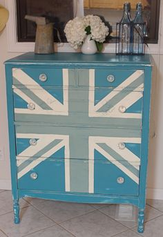 Duck Egg blue and Old White Union Jack dresser (teal color was already there, but I'd use Provence if I started from scratch)