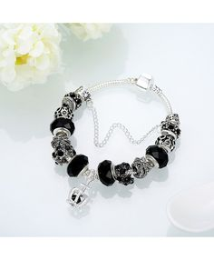 Black Crystal Beads And The Murano Black Glass Beaded Silver Plated Bracelet