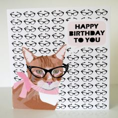 Cat with Glasses Pink Birthday Card by JayneyMac on Etsy, £2.00