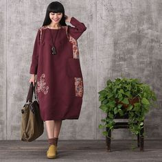 Women retro style loose cotton linen dress