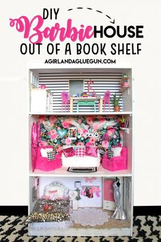 How to make a Barbie house out of a cheap bookcase! Yup! an easy barbie house that is so cute and way affordable! Perfect for a Christmas gift idea! Cheap Bookshelves, White Bookshelves, Barbie Doll Set, Barbie Doll House, Play Barbie, Barbie Barbie, Barbie Clothes, Cubby Shelves, Secret Storage