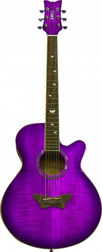 """The Daisy Rock Sophomore Butterfly Acoustic/Electric guitar is a full scale instrument designed specifically for girls. This guitar's """"Slim & Narrow"""" neck makes even the most challenging notes and chords easy to reach for a girl with smaller hands. Its single cutaway body allows complete access to the fretboard, while the glossy Mahogany top with matte mahogany back and sides gives the guitar an amazing tone!"""
