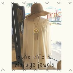 """""""We have a huge selection of #vintagejewelry that you can incorporate into your everyday wardrobe! We paired a #vintagenecklace with our #bellsleevedress…"""""""