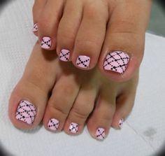 Toe nail art for next pedicure Pink Toe Nails, Cute Toe Nails, Summer Toe Nails, Pretty Toe Nails, Feet Nails, Love Nails, My Nails, Pretty Toes, Pedicure Nail Art