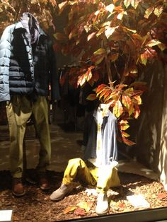 Sitting invisible mannequin in the Autumn Window Display