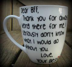 Dear BFF Best Friend Mug Bestfriend Cup Bestie Thank you